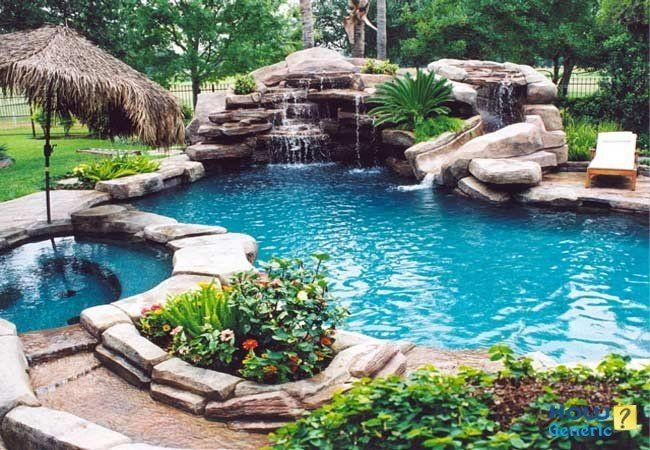 Backyard Oasis With Copper Hot Tub And Waterfall Pool Didn T You Say You Wanted A Water Feature In The Back Dream Backyard Dream Pools Inground Pool Designs