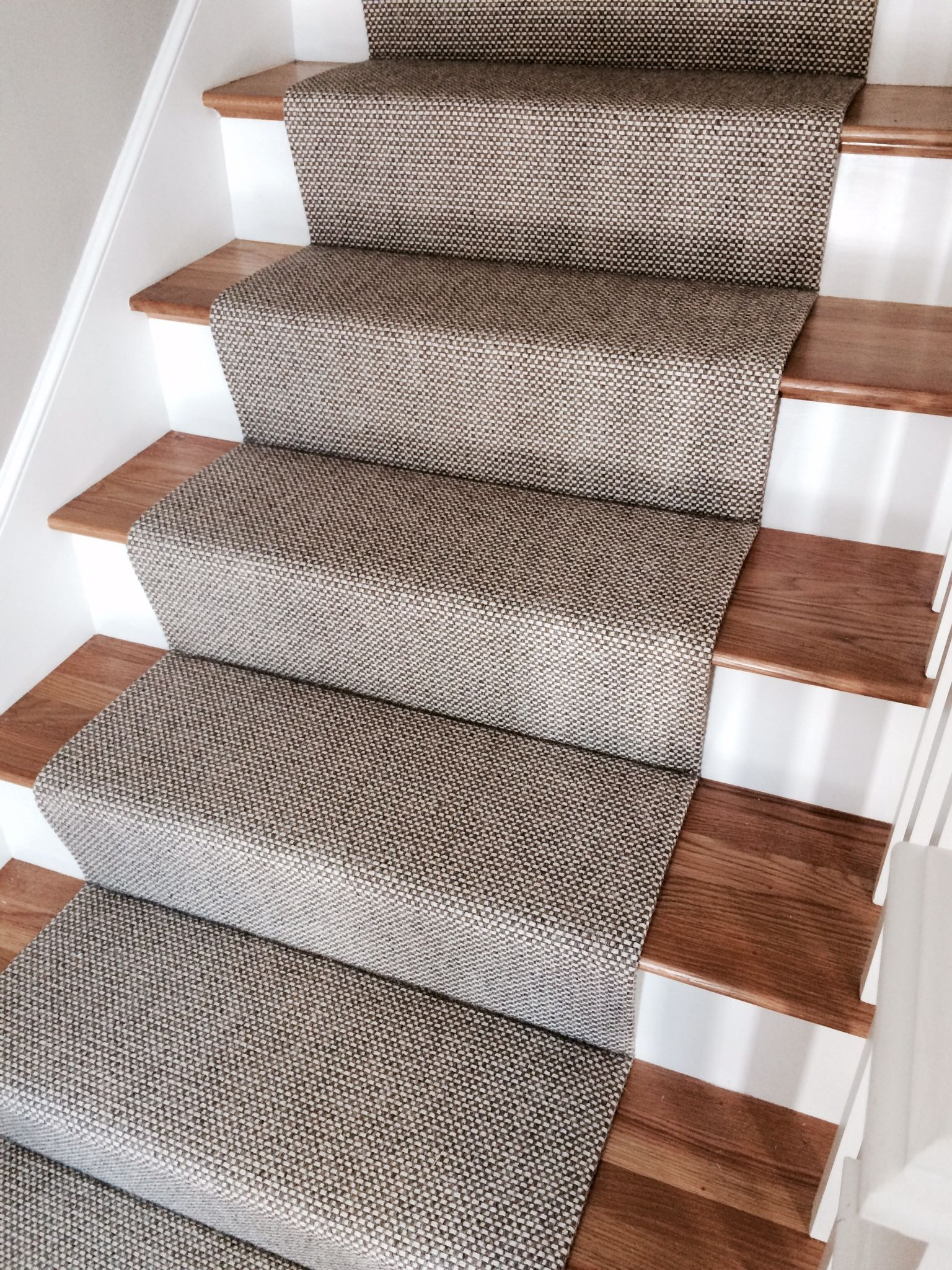 Woven Wool Stair Runner That We Fabricated Using A Fold And Stitch   Wool Carpet Runners For Stairs   Flooring   Woven   Rectangular Cord Treads   Stair Country Style   Modern