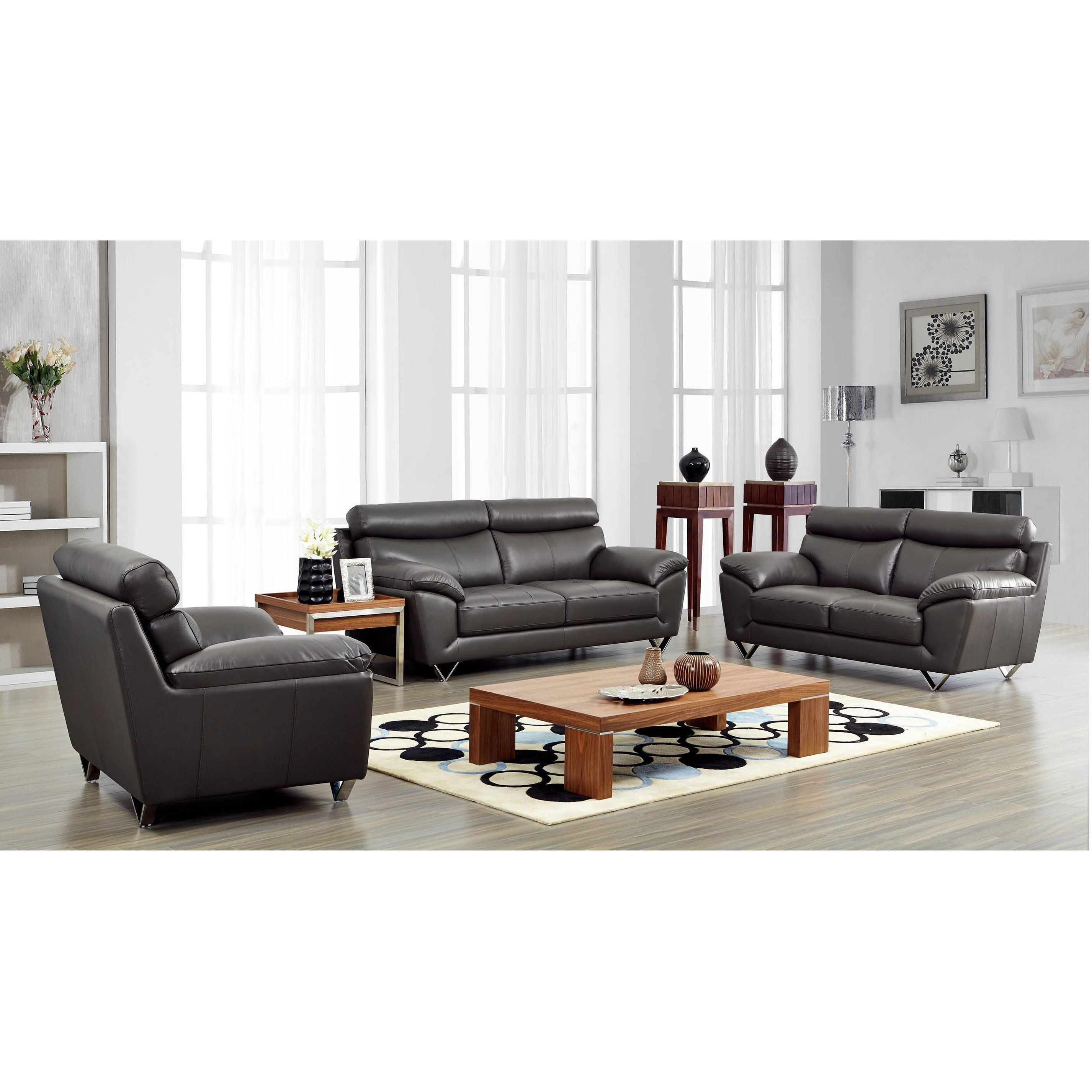 Luca Home Grey Sofa, Loveseat and Chair Set (Grey Sofa, Loveseat and ...