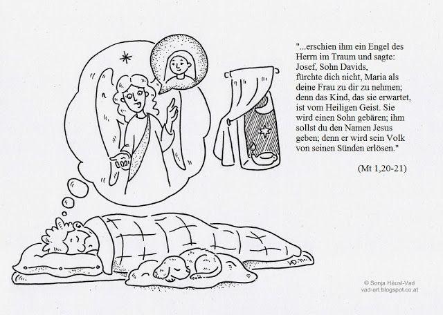 Engel erscheint Josef im Traum | Bibel-Ausmalbilder | Pinterest ...