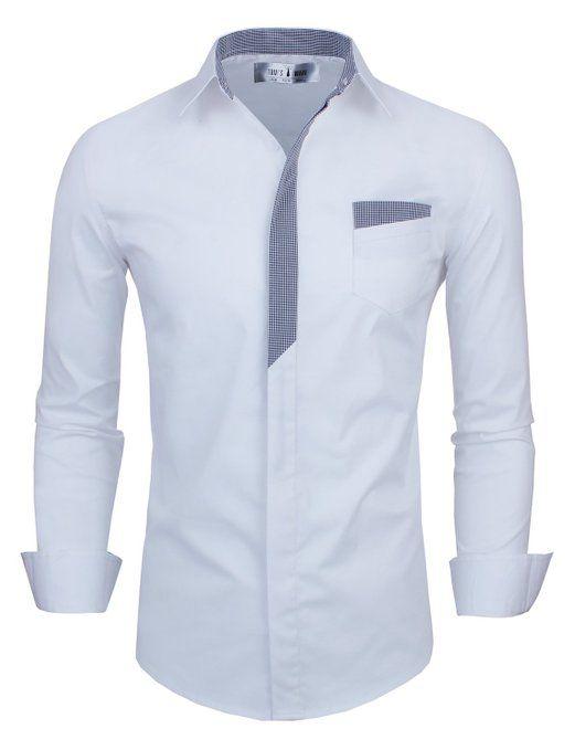 camisa blanca, con un fino detalle de color gris que borde el cuello y baja hasta la mitad del pecho. HERMOSA!