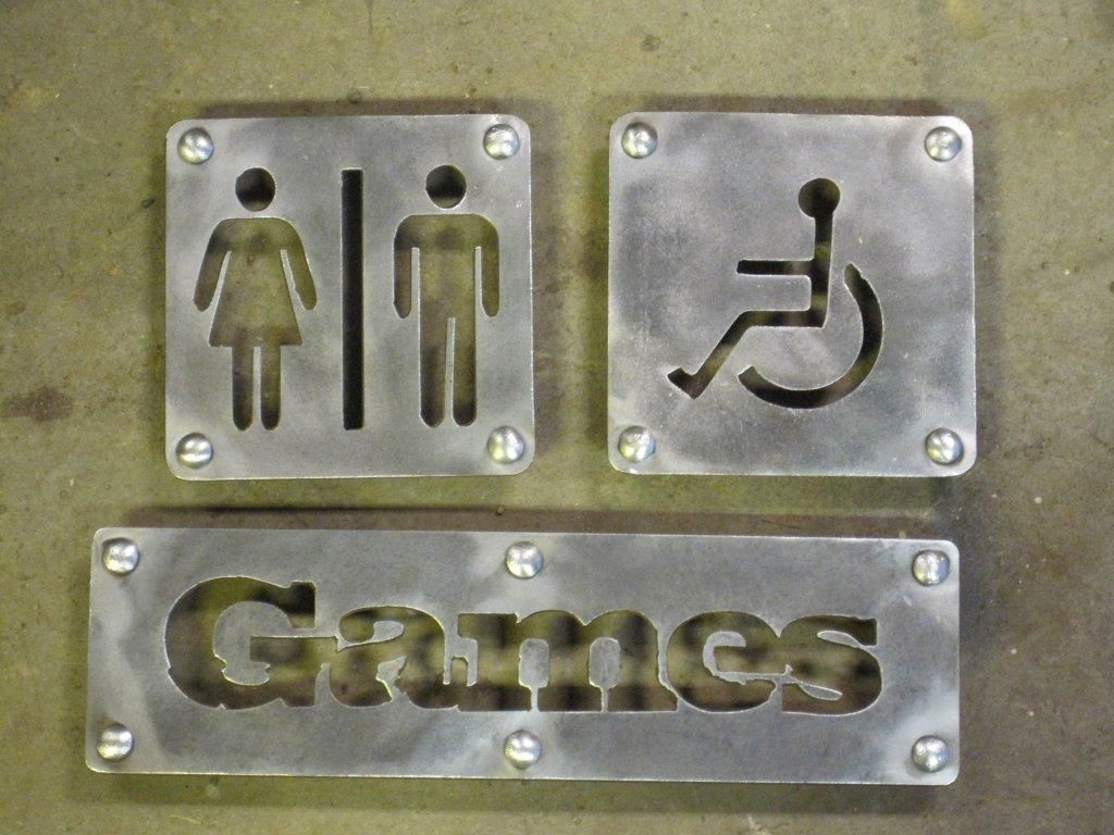 Bathroom Signs For Business custom metal signs, metal letters and lettering | cnc signs