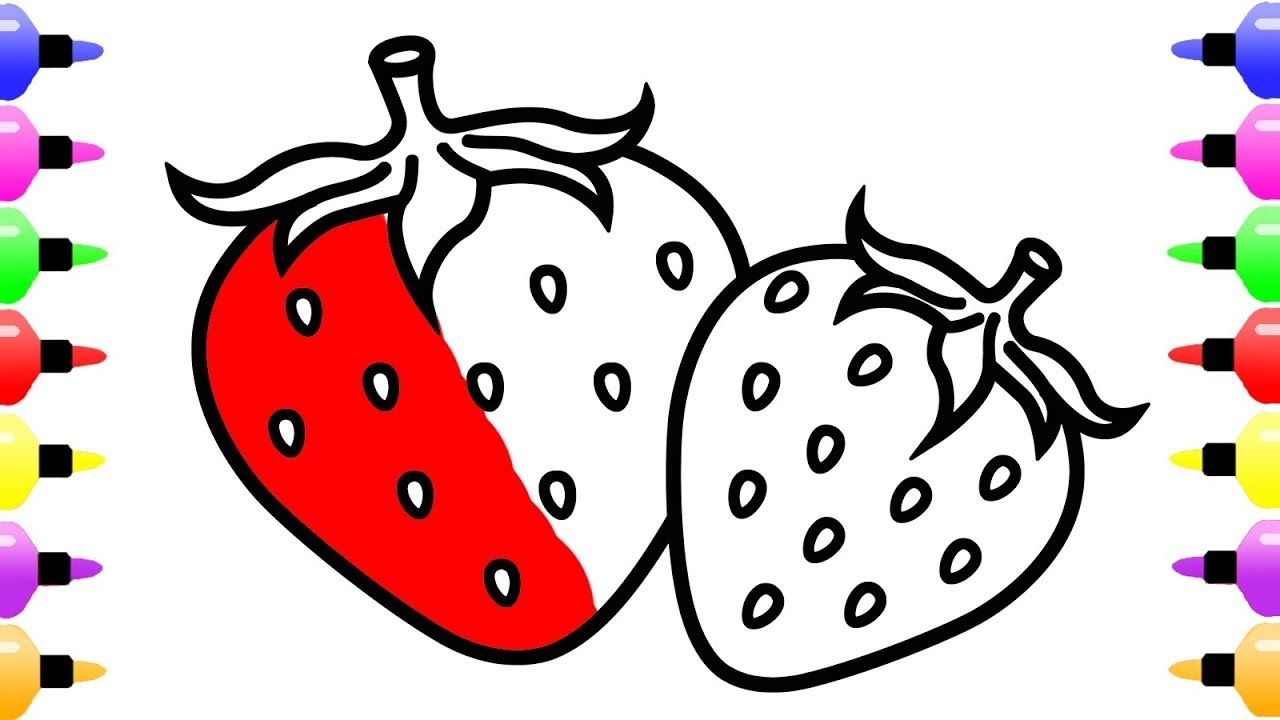 Strawberry Drawing and Coloring Pages for Kids with Colored Marker ...