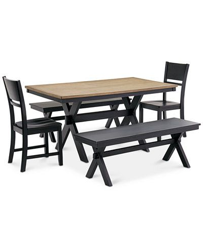 Archer Dining Furniture, 5 Pc. Set (Dining Table, 2 Side Chairs U0026 2  Benches), Created For Macyu0027s | Dining Furniture
