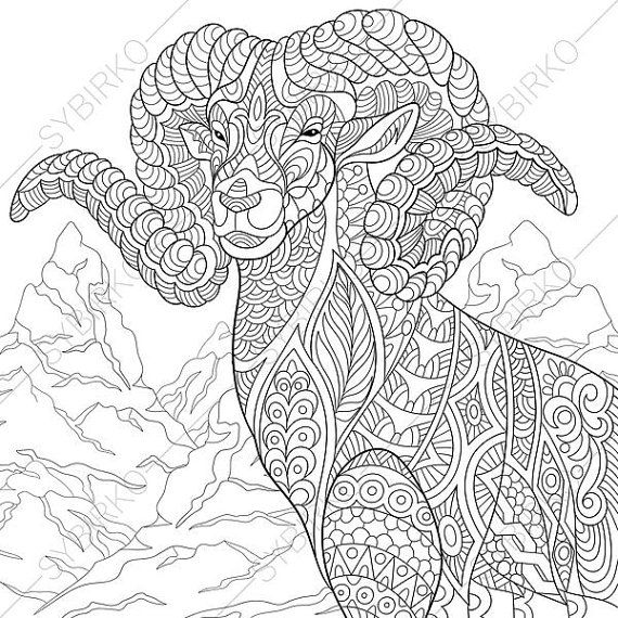 Coloring Pages For Adults Mountain Goat Adult Coloring Pages