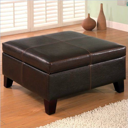 Coaster 501042 Dark Brown Leather Vinyl Storage Ottoman with Wood ...