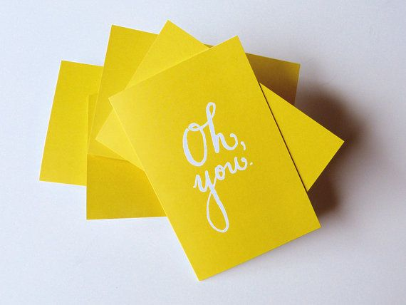 Set of 8  Lemon Lime Greeting Cards Oh you  by perchpaperco, $18.00