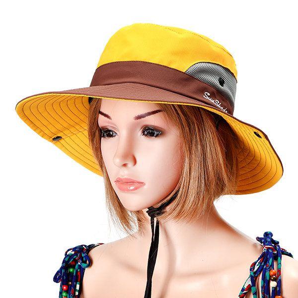 a4e6b0b25f1 Women Summer Foldable Mesh Breathable Anti-UV Fisherman Hat Outdoor Travel  Sunscreen Bucket Hat