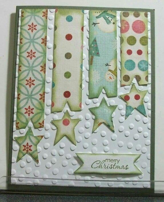 Christmas card layout idea star banner dots embossed cartões - christmas card layout