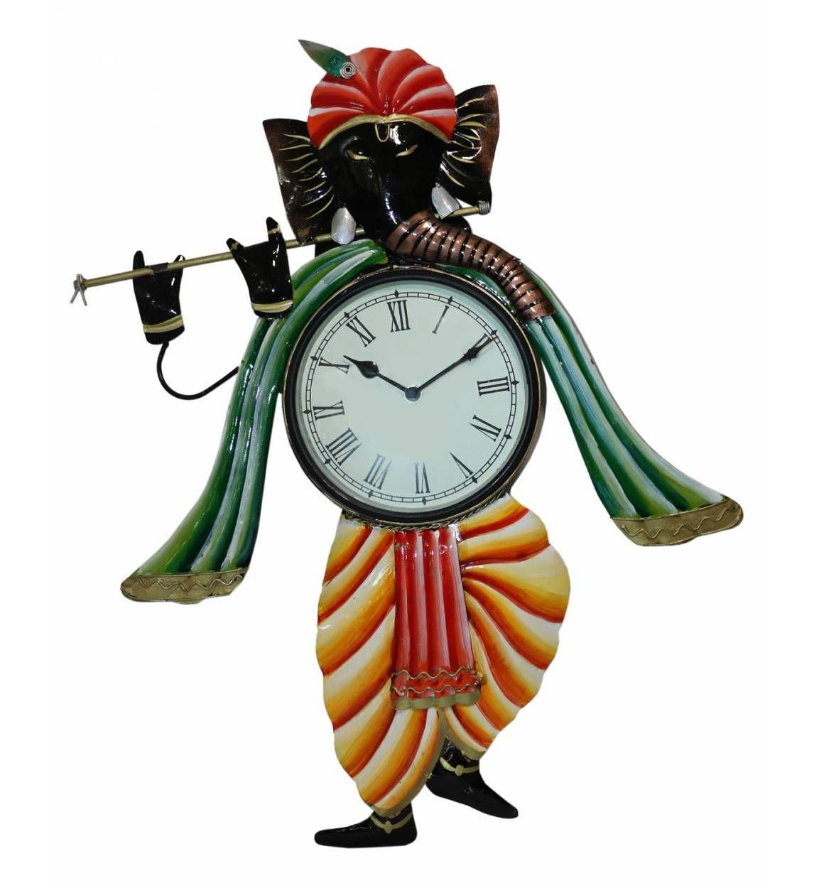 Iron Hand Painted Ganesh Ji Wall Clock Designer Decorative Wall