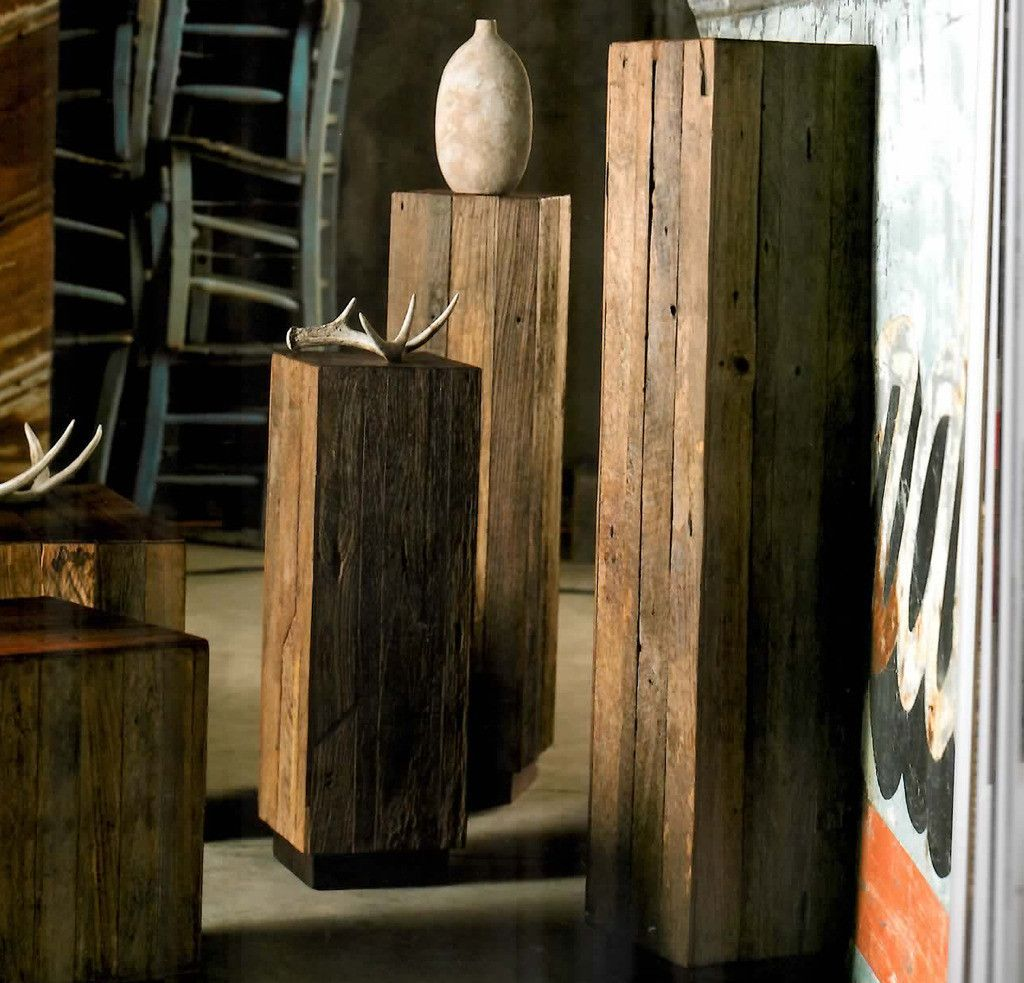 Recycled Red Wood Amp Teak Pedestals Forma Living