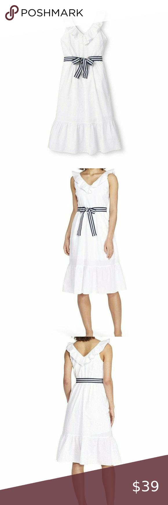Vineyard Vines For Target Dress Ruffle Tie White M Women S Sleeveless Ruffle Tie Waisted Midi V Neck Dress White Vineya Target Dresses Ruffle Dress Dresses [ 1740 x 580 Pixel ]