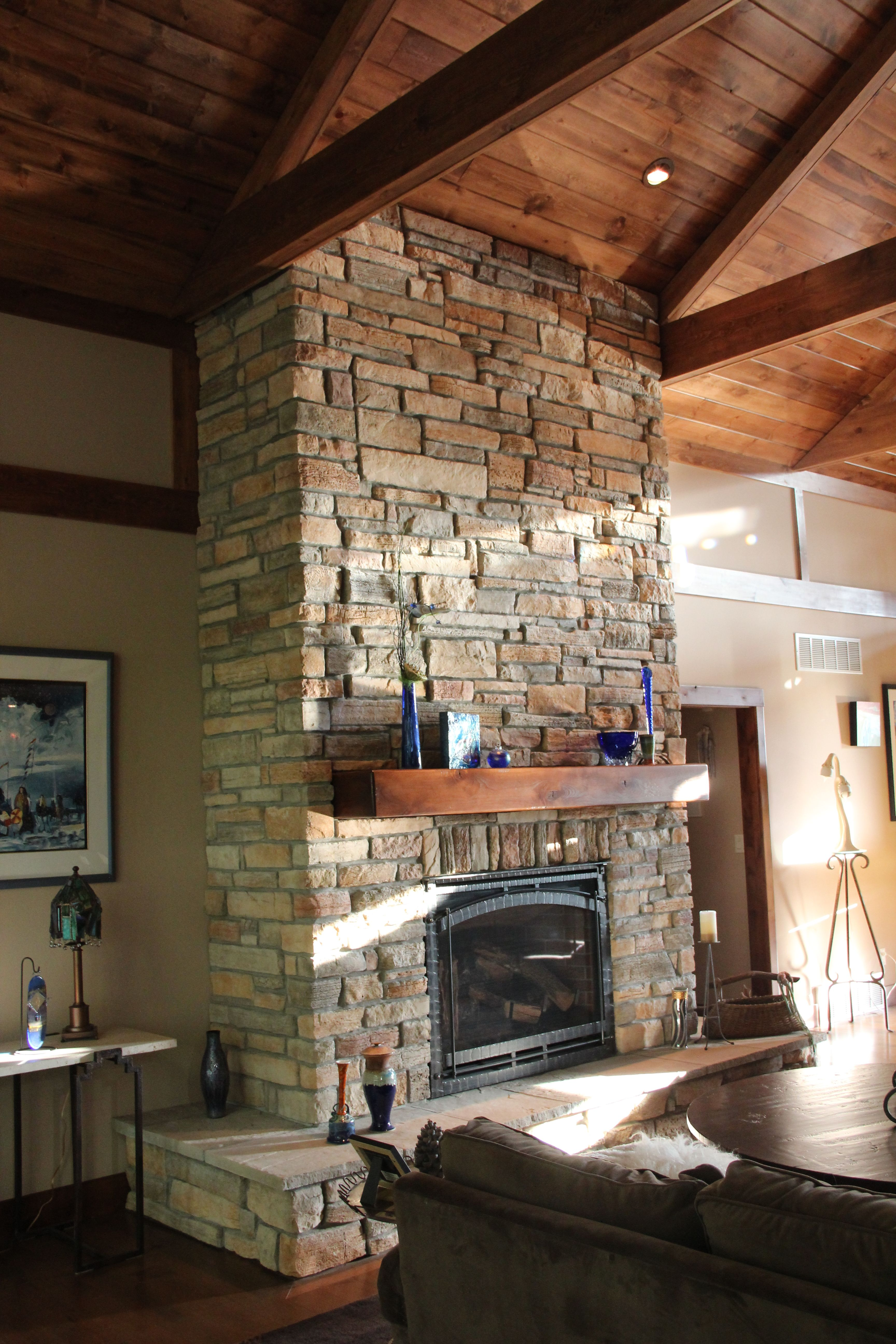 Stone fireplace like the beefy but simple mantle my - Stone and wood fireplace ...