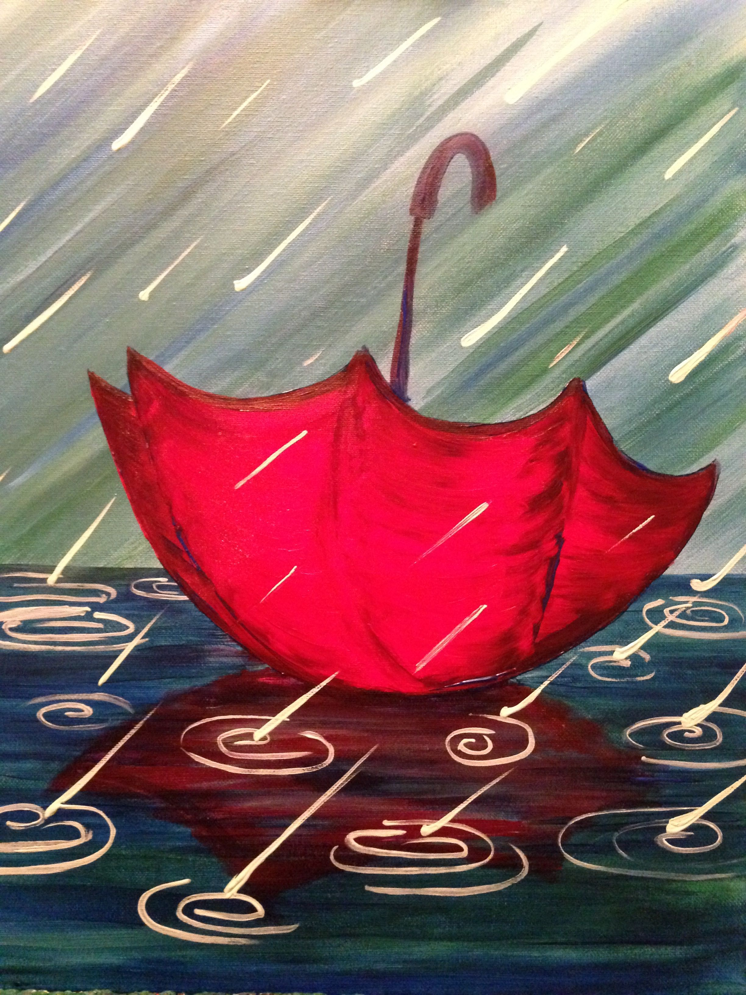 Lost Umbrella Simple Acrylic Paintings Acrylic Canvas Easy Canvas Painting