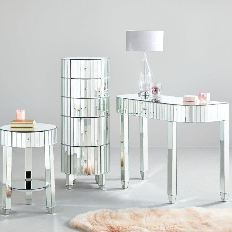 Round Bedroom Furniture Units With A Mirrored Glass Finish Mirror In 2019