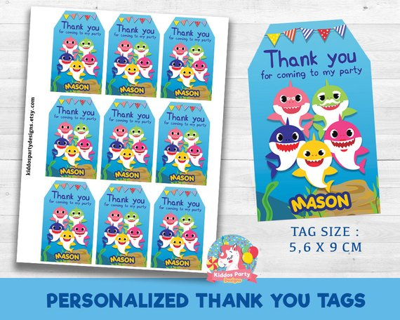 Shark Family Thank You Tags Custom Personalized Party Supplies Baby Shark Thank You Cards Baby Sh Shark Party Favors Baby Birthday Party Shark Birthday Party