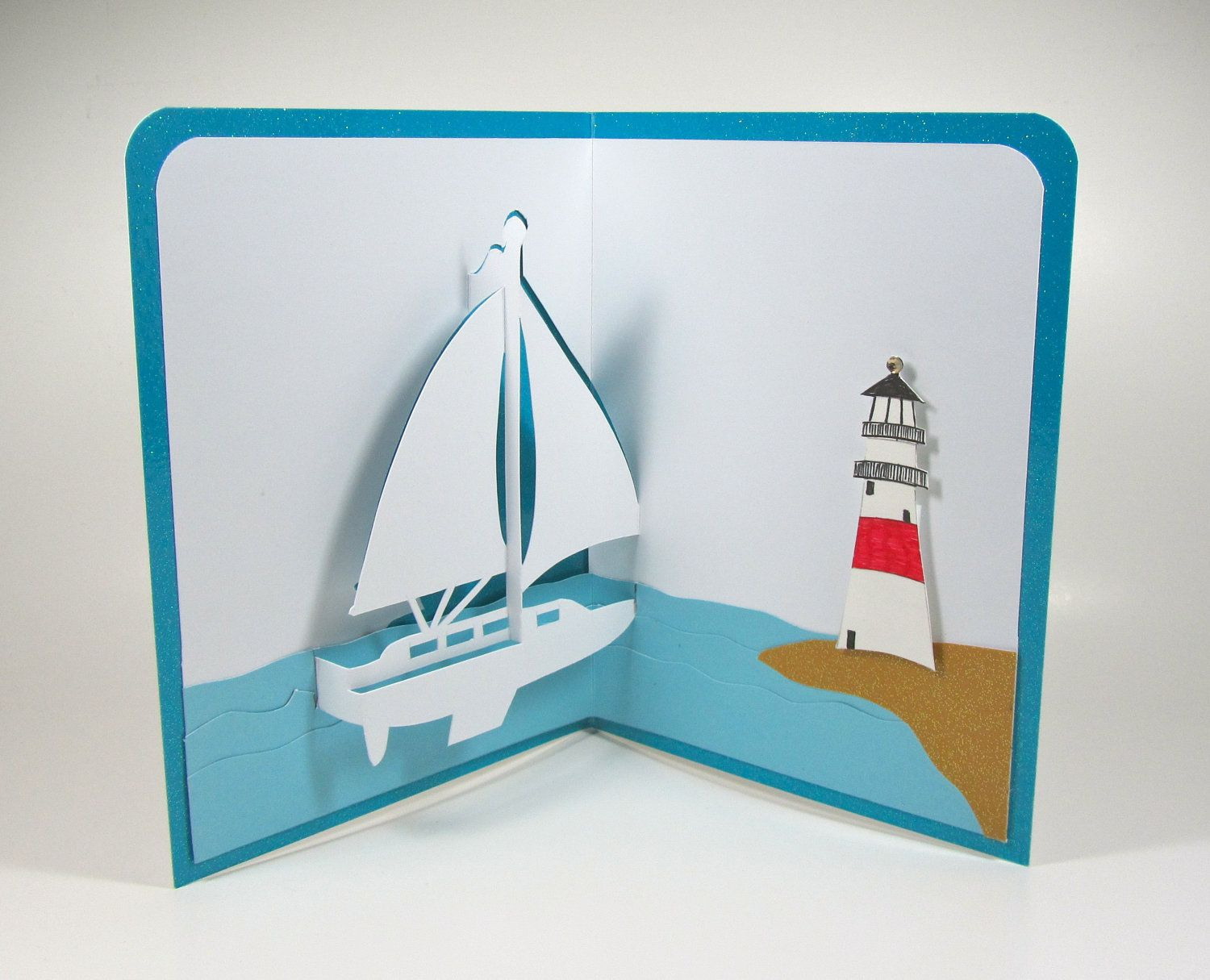 Lighthouse and sailboat card 3d cards pop up pinterest lighthouse and sailboat card greeting kristyandbryce Choice Image