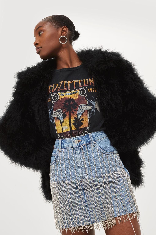 51c021d0467 MOTO Dazzle Fringe Denim Skirt | INSPIRATION | Denim skirt, Denim ...