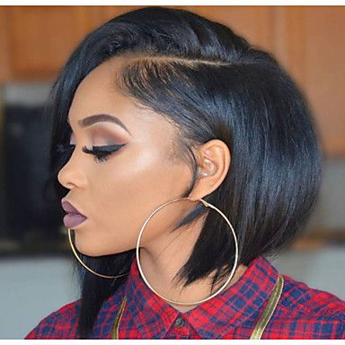8 12 Inch Short Bob Side Part Natural Remy Virgin Human Hair Lace Front Wigs