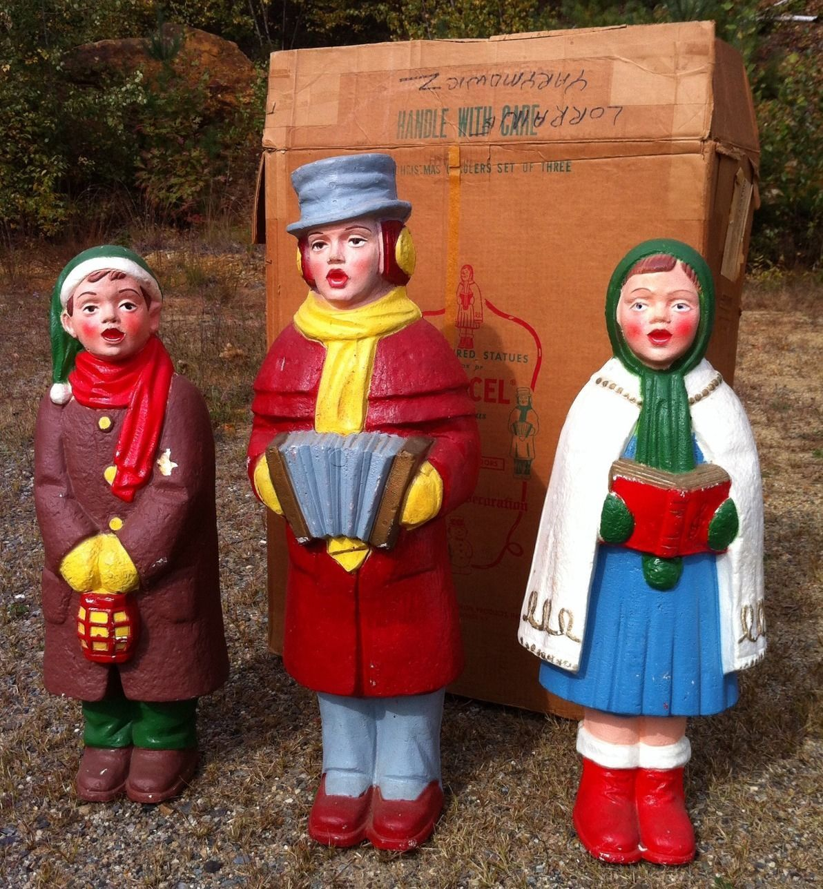 Christmas Carolers Yard Decorations: Vintage Poloron Blow Mold Styrofoam 1960s Carolers Trio