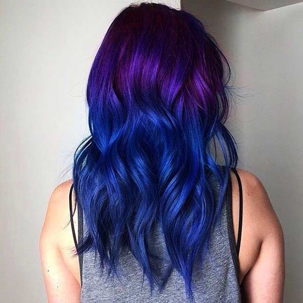 25 Amazing Blue And Purple Hair Looks Purple Ombre Hair Hair