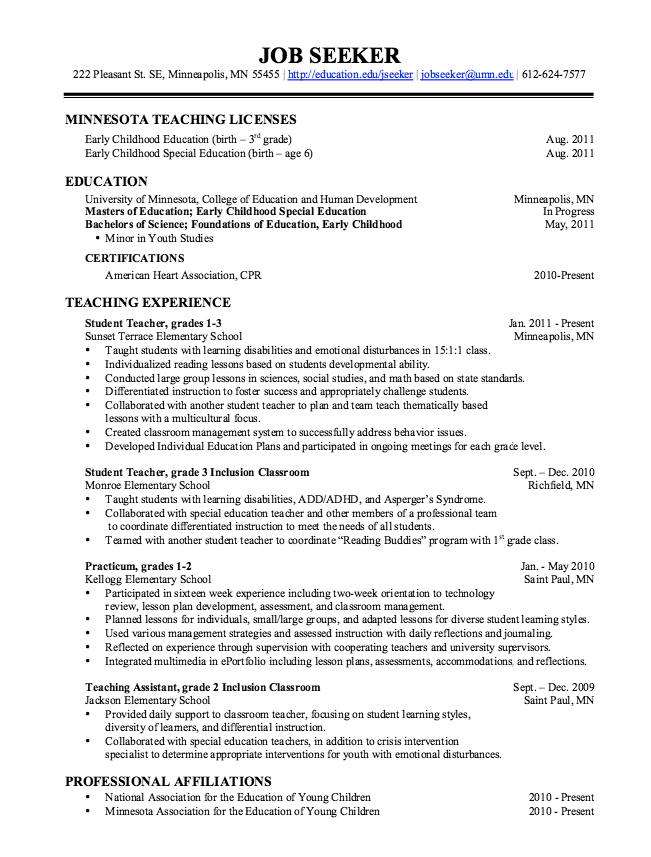 Resume For A Teacher Example Of Teaching Assistant Resume  Httpexampleresumecv