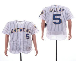 8889da902 Men's Milwaukee Brewers #5 Jonathan Villar White Pinstripe Stitched MLB  Cool Base Jersey