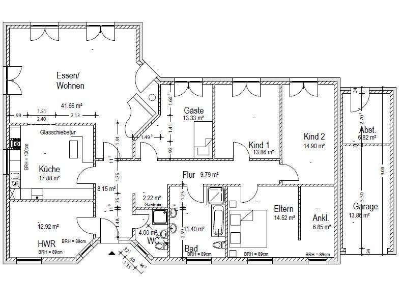 Dieser Bungalow Grundriss mit knapp 180 m² bietet 2