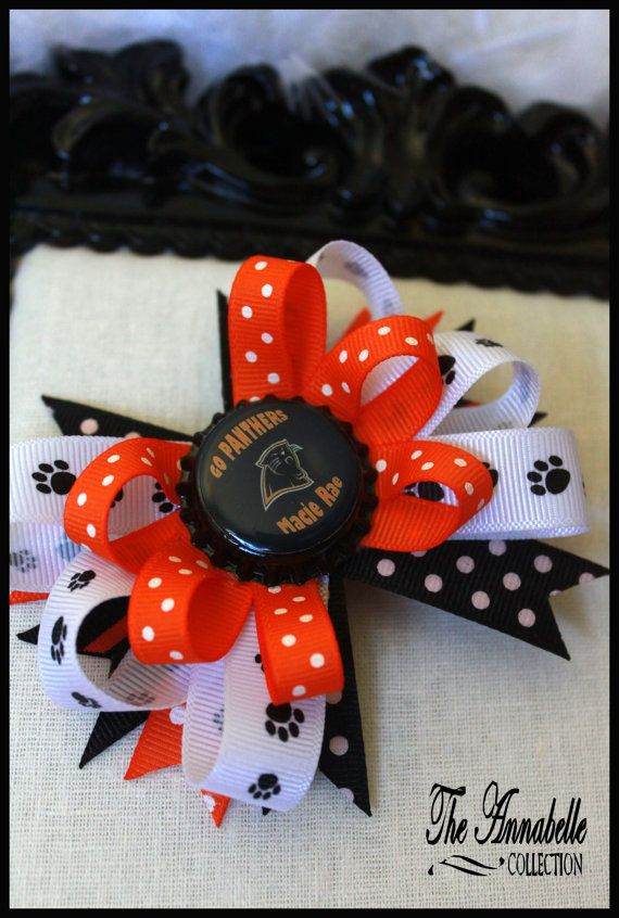 personalized hair bow with school mascot found on etsy  by Annabelle Collection