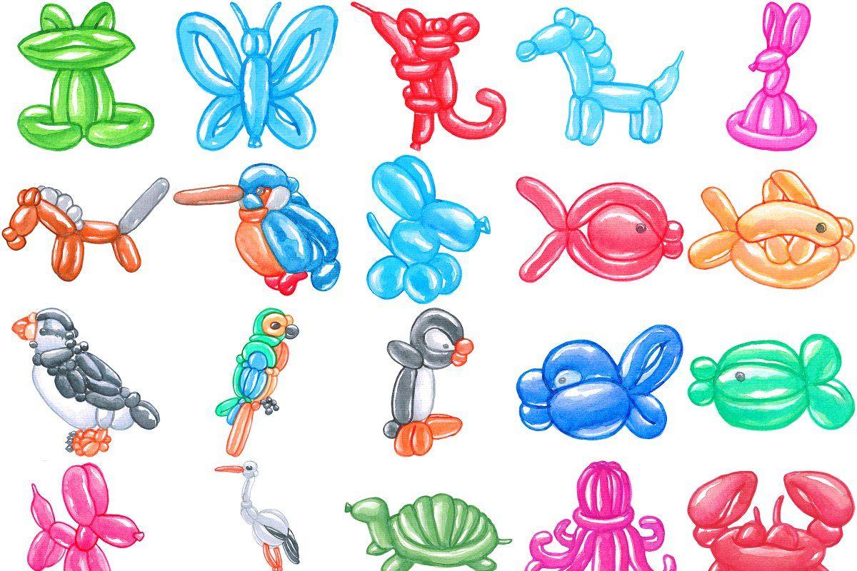 Balloon Animals Watercolor Bundle102 Balloon Animals Watercolor Animals How To Draw Balloons