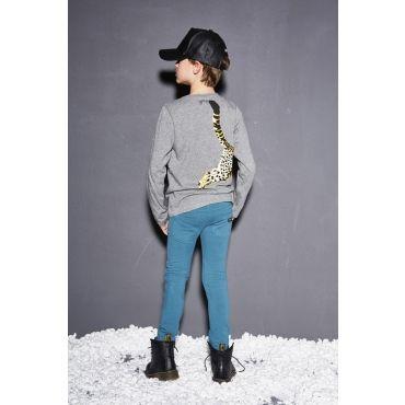 Grijze t-shirt met jachtluipaard - Mister Monkey and Misses Butterfly - Yporqué - KidsCollection - Barcelona - Boys - Girls - Size 92  - 98 - 104 - 116 - 128 - AW16