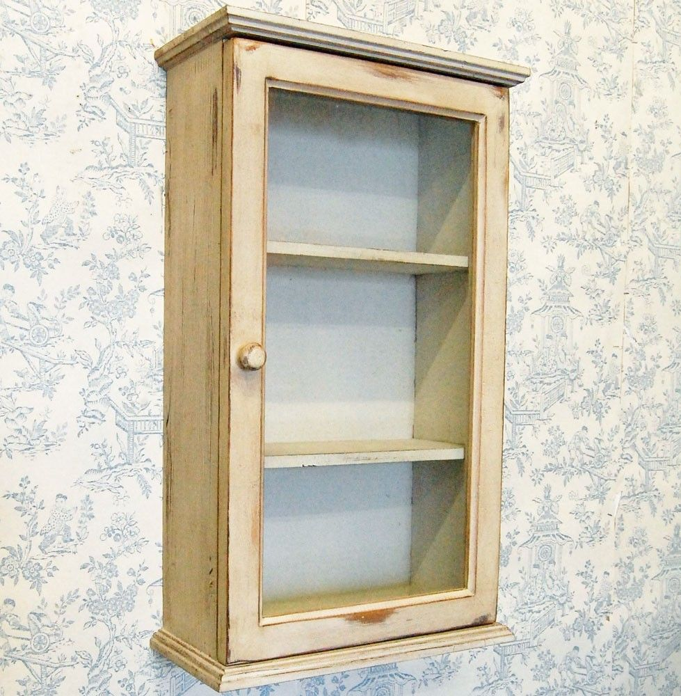 French shabby chic cream painted wooden wall cabinet cupboard