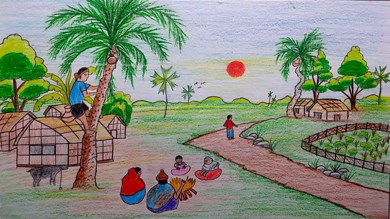 Winter Season Scenery Drawing For Kids