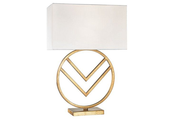 Munich Circle Table Lamp, Gold Leaf, 26\