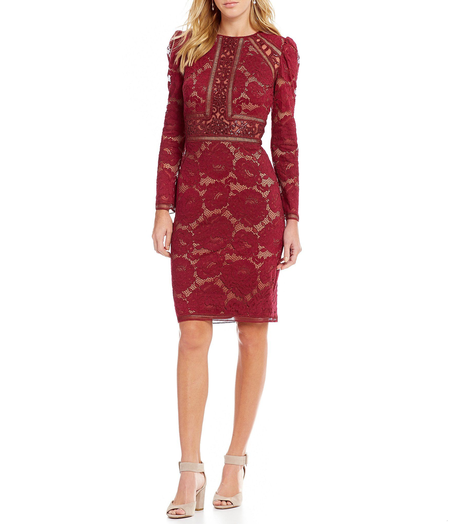 3aaee5dbb2 Tadashi Shoji Lace Long Sleeve Sheath Dress