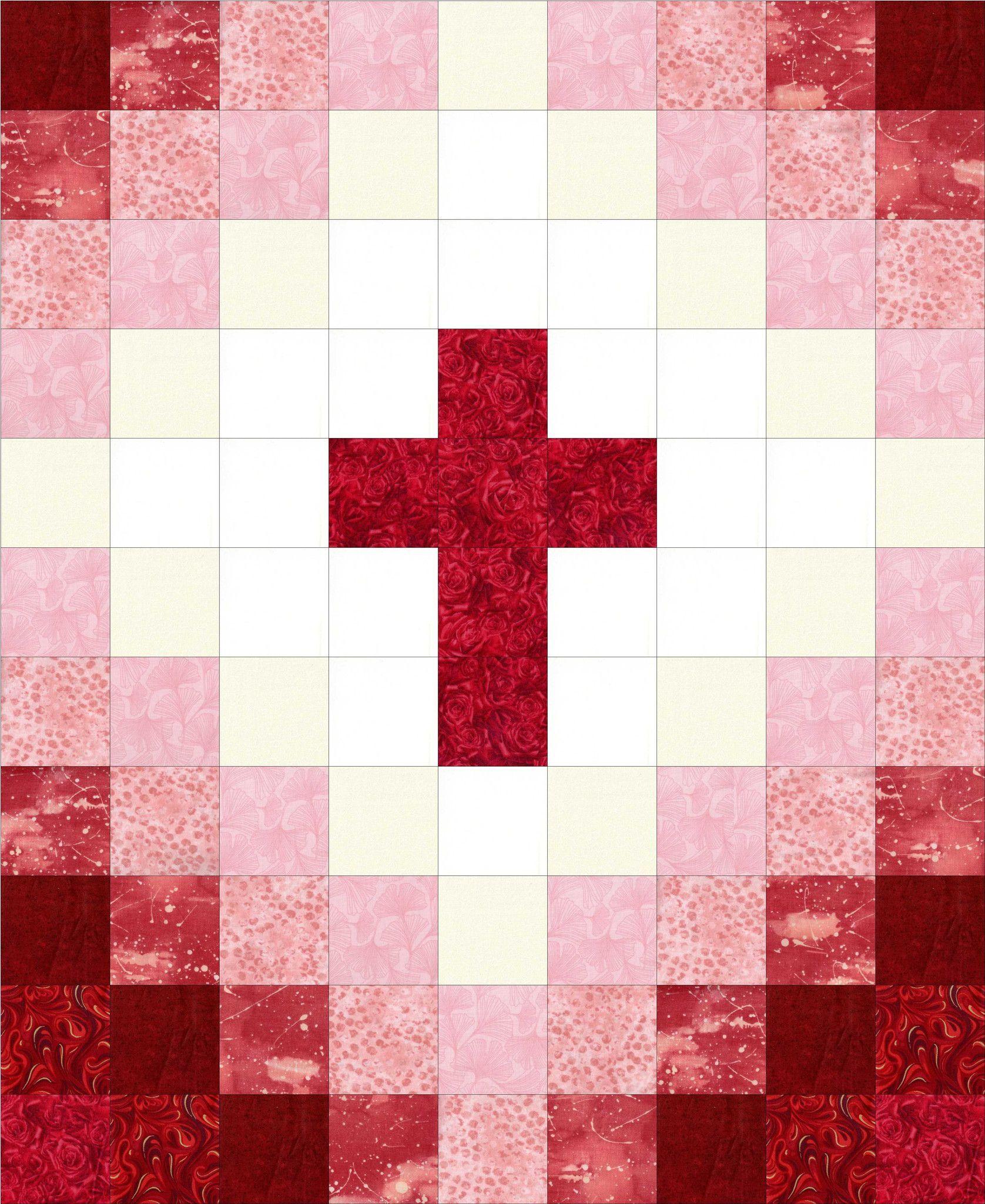 Cross Christian Red Easy Precut Quilt Kit Sewing Cross