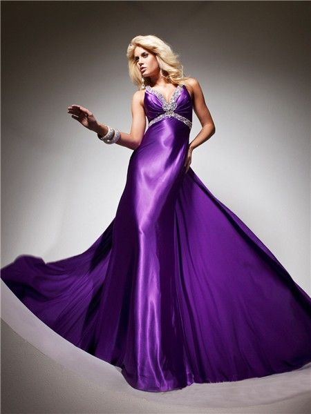Royal Queen V Neck Backless Long Purple Silk Beading Prom