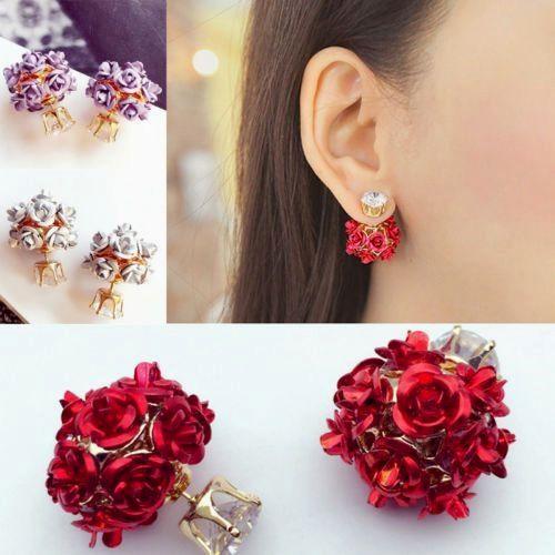 Rose Flower Crystal Rhinestone Pearl Stud Earrings ixzpWtkL