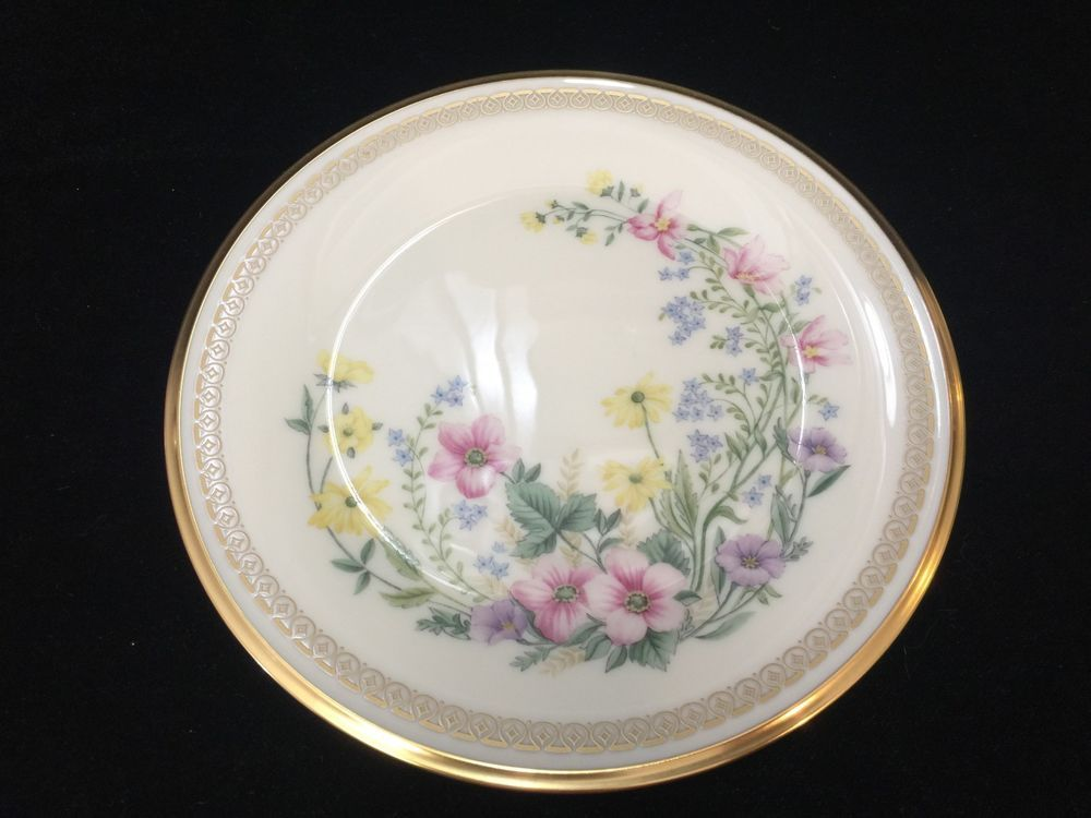 Lenox Flower Song Bone China Floral Gold Trim Salad Plate Made in USA 8  Dia & Lenox Flower Song Bone China Floral Gold Trim Salad Plate Made in ...