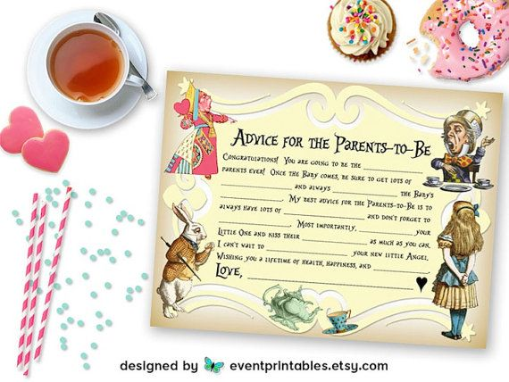 Printable Alice in Wonderland Mad Libs DIY Baby Shower Game New