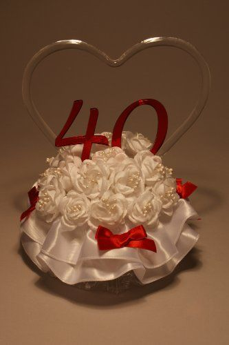 Remembering The Years 40th Wedding Anniversary Cake Topper GOS - Ruby Wedding Cake Toppers