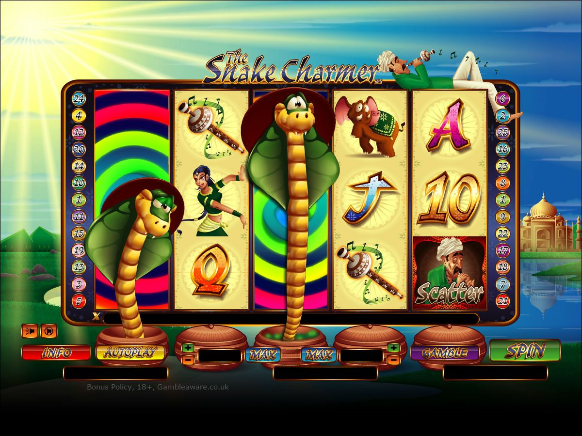 Play 25 payline, the Snake Charmer slots with a sign up