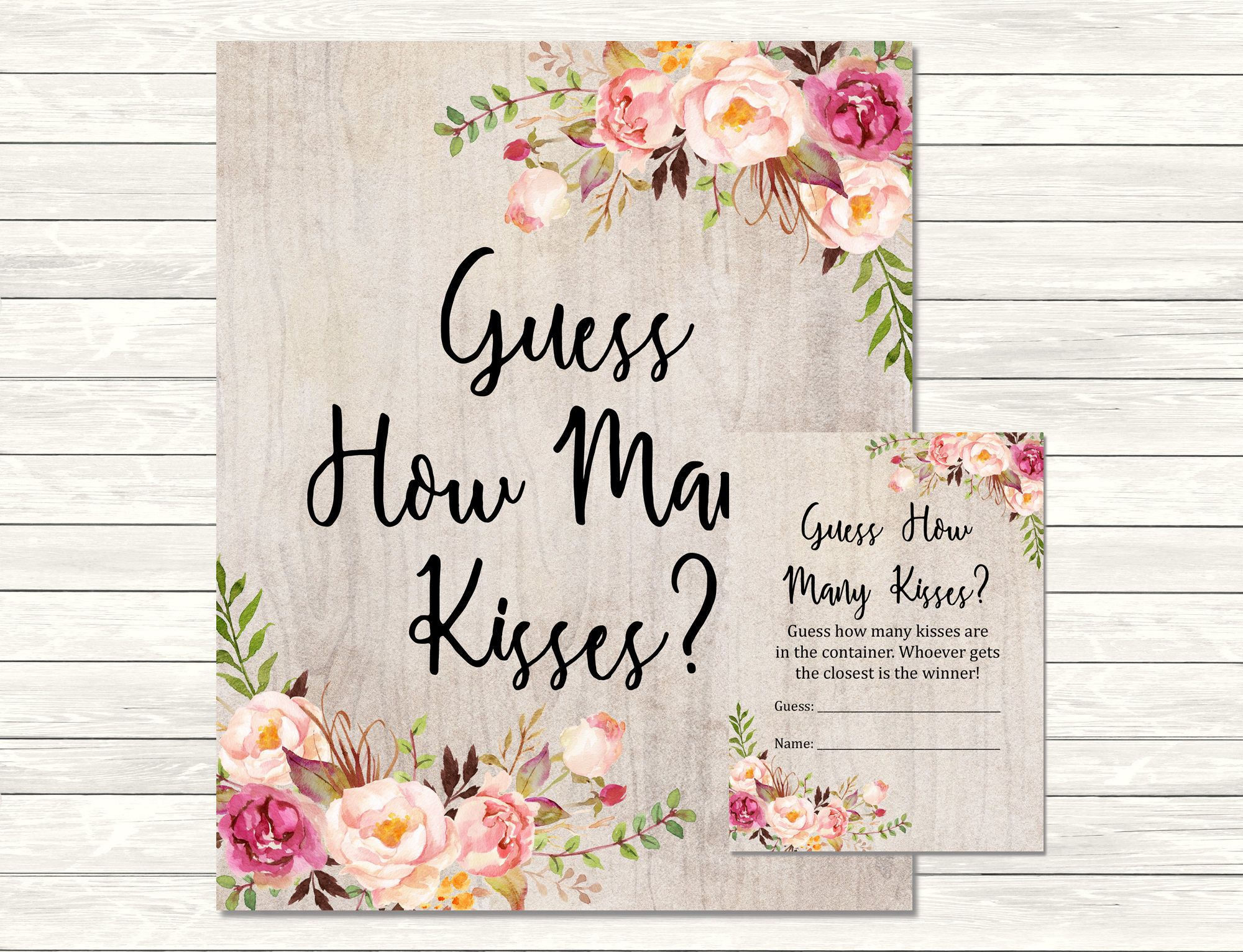 Rustic Boho Guess How Many Kisses Game, Floral Boho Printable