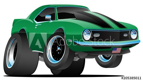 Classic Sixties Style American Muscle Car Cartoon Vector