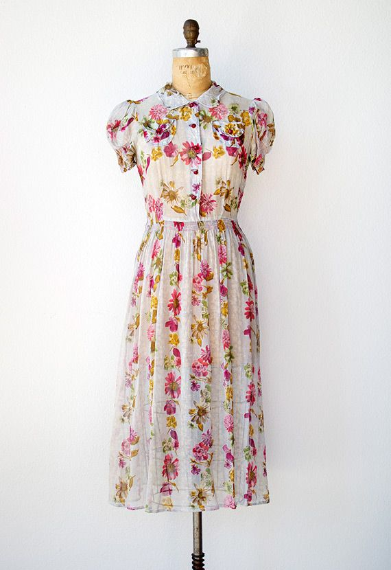 vintage 1940s sheer bright floral dress with puff sleeves ...