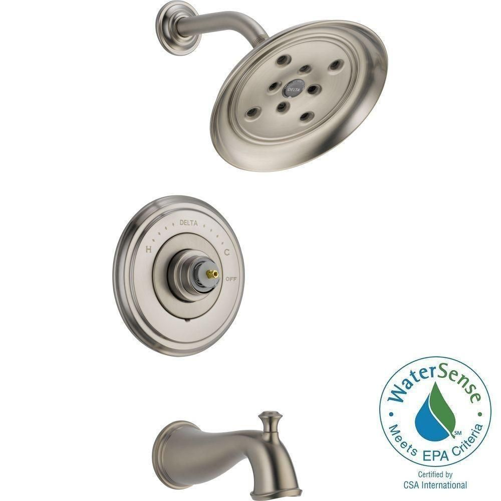 Delta Cassidy 14 Series 1-Handle Tub and Shower Faucet Trim Kit Only in Stainless