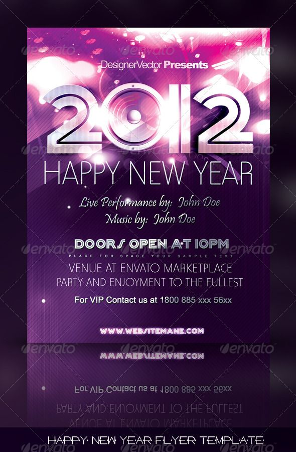 Happy New Year Flyer/Poster Template Template, Photoshop and Print