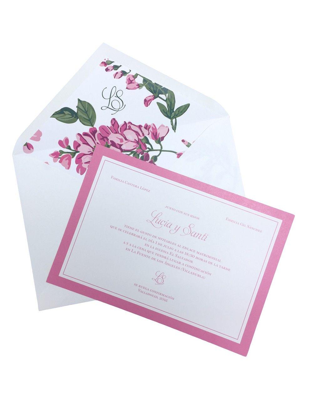 Invitación de boda con rosas blancas y marco rosa | Invitaciones de ...