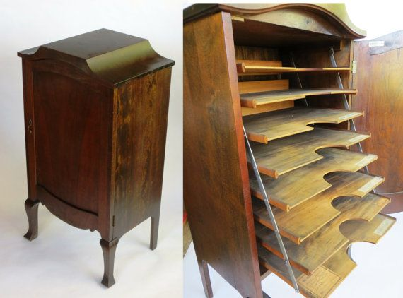 Vinyl Record Storage Cabinet: Wooden 1900s Victrola Style Console / Stereo  Album LP Rack With