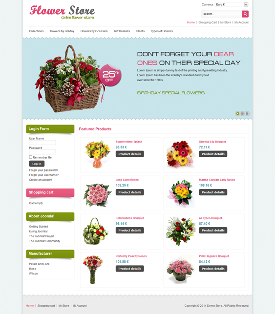 This VirtueMart template comes with a homepage featured content ...
